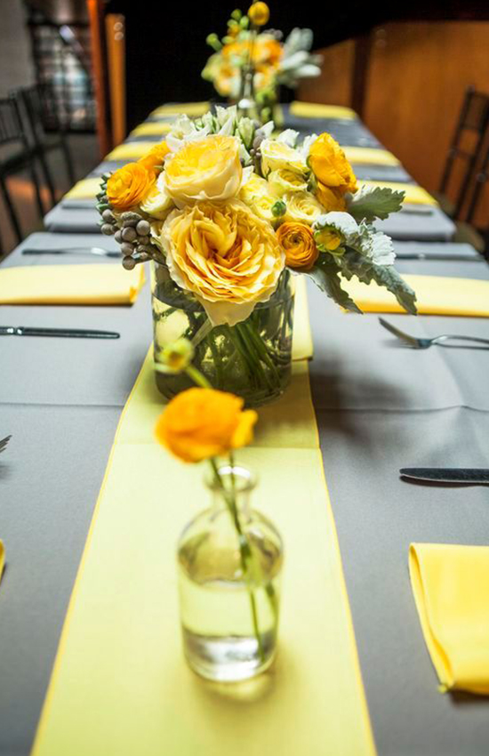 10.Yellow Table Runner with Flowers
