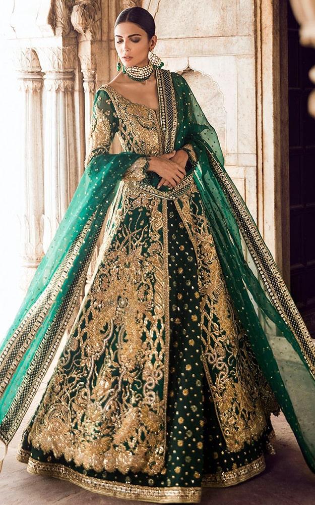 Dark Green Bridal Lehenga