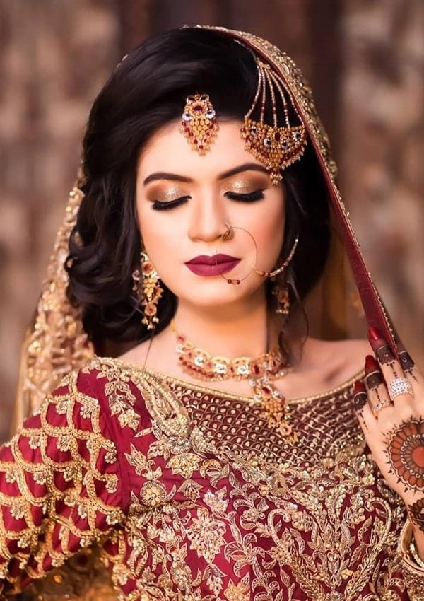 Bridal Makeup with Burgunday Lipstick