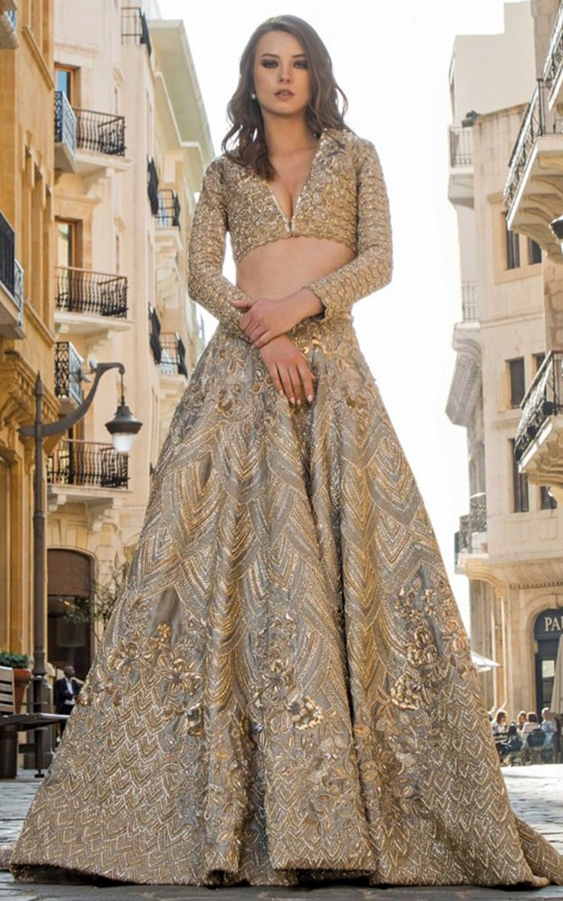 Champagne Bridal Lehenga Dress