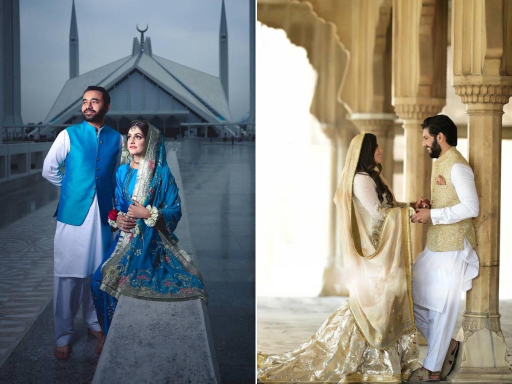 Bridal and Groom Dresses with color coordination