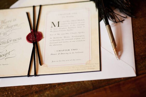 Jane Austen wedding theme decorations