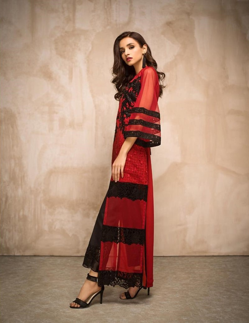 2.The Beguiling Red Shirt With Floral Embroidery