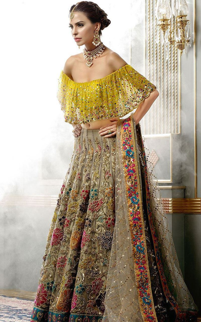 OFF Shoulders Lehenga and Blouse for Bridals