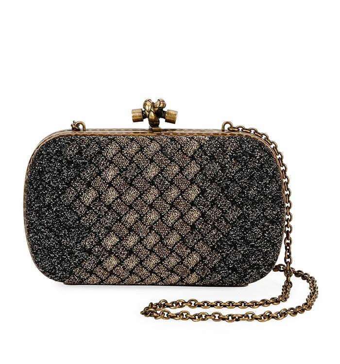2.Bottega Veneta Knitted Chain Knot Metallic Clutch Bag