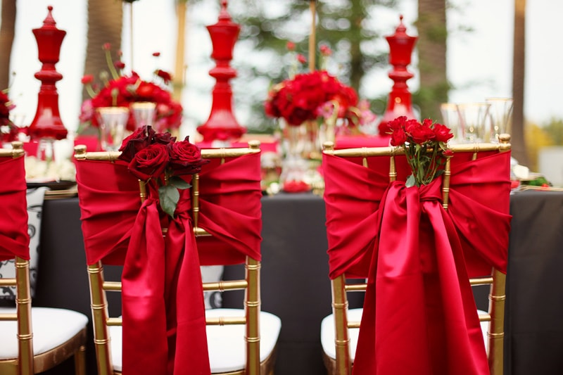 Crimson Red on chairs for wedding Decor