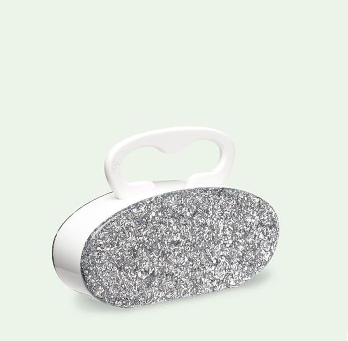 5.Edie Parker Deco Clutch In White And Silver Confetti