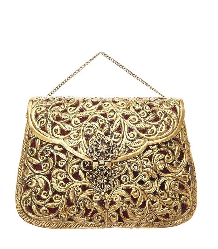 6.St Xavier Ezra Bag Gold Burgundy
