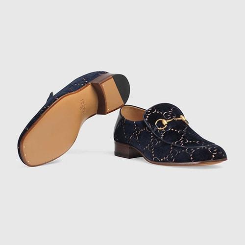 5.Gucci GG velvet Horsebit loafer
