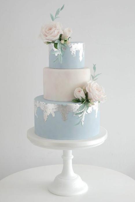 Ice Blue wedding Cake