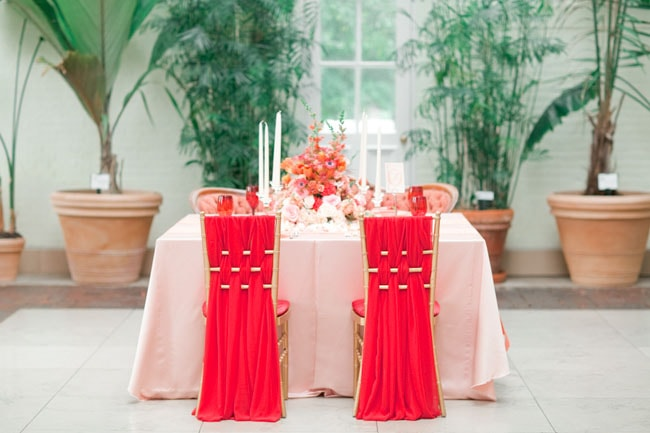 Red chair covers for wedding decor