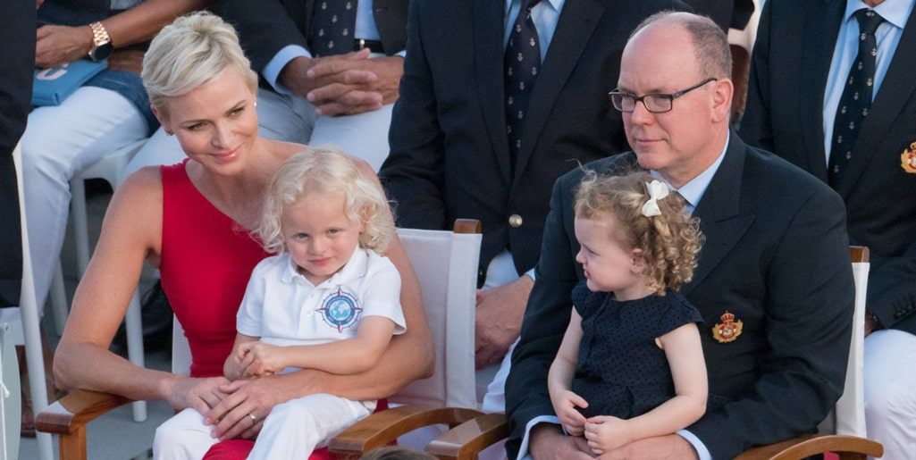 Princess Charlene Bridal Dress with her family