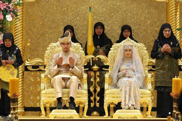 Princess Hafizah Sururul Bolkiah and Pengiran Haji Muhammad Ruzaini at their wedding