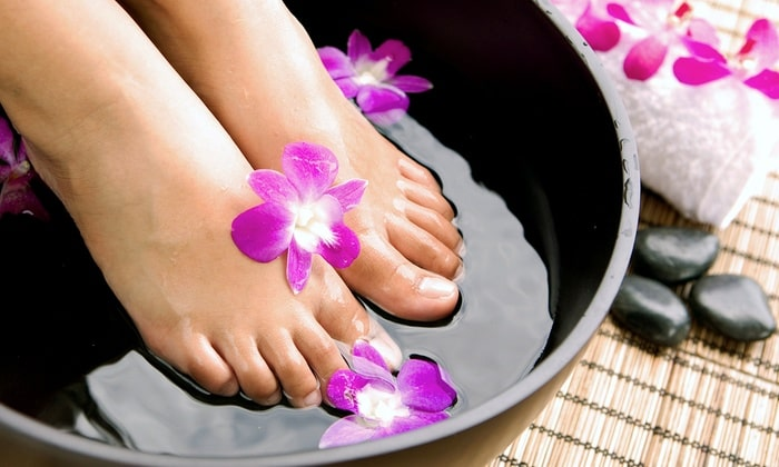 Foot bath with warm water