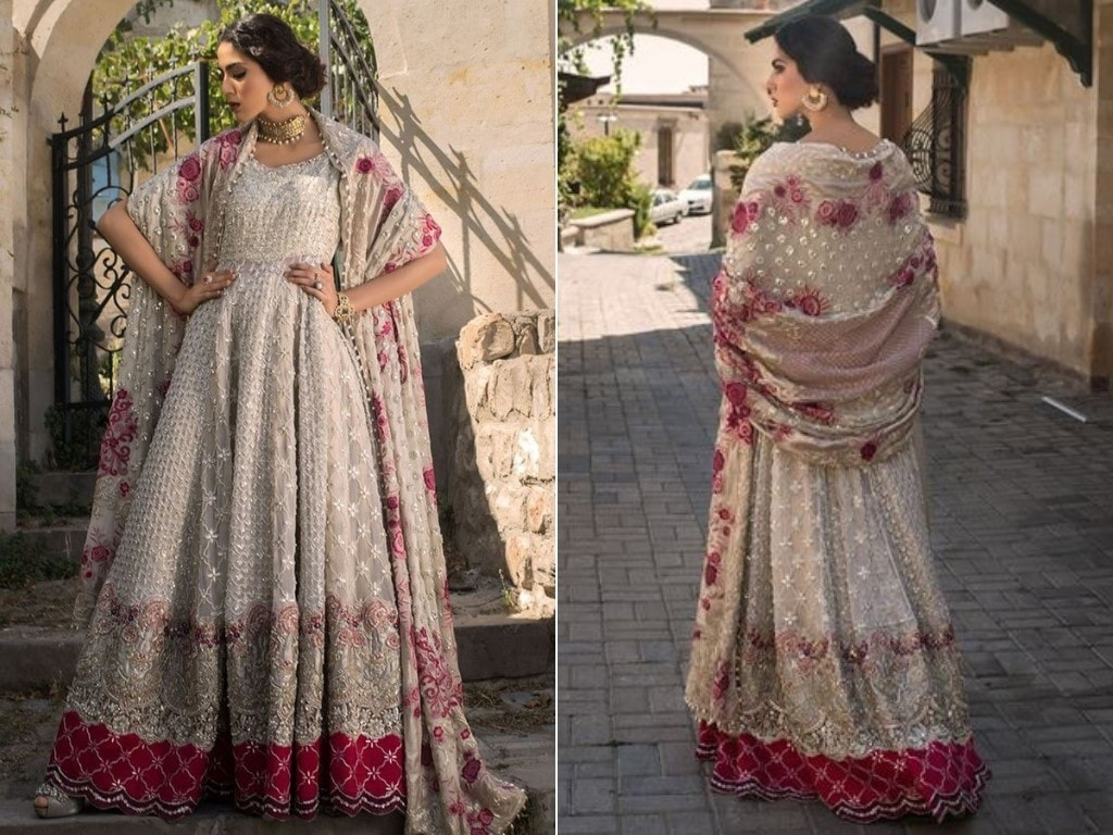 Ivory Anarkali Bridal Dress by Zainab Chottani