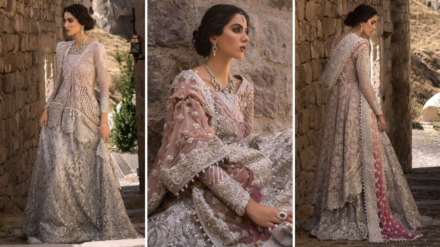 Light Pink and Silver Bridal Dress by Zainab Chottani