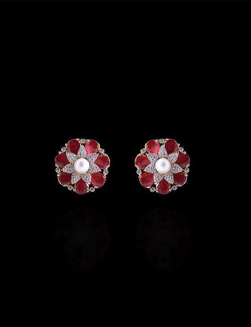 Earrings in red by shafaq habib jewelry best gift for this valentines day