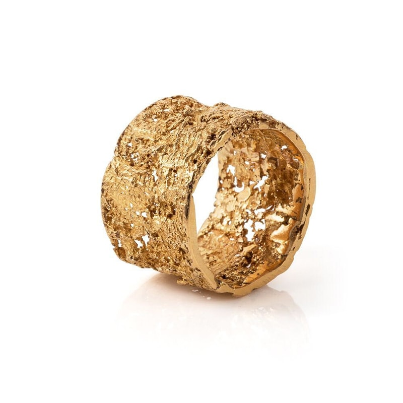 5. Gold Band With Textured Detailing