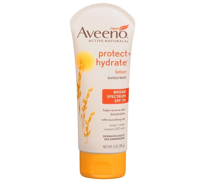 3.Aveeno Protect + Hydrate Lotion Sunscreen SPF 70