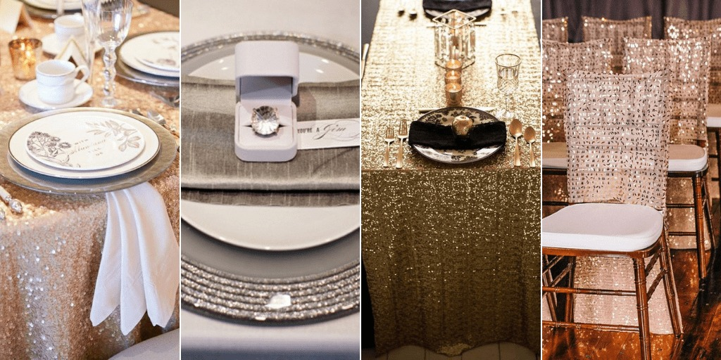 Table and Glitter Decor for Wedding