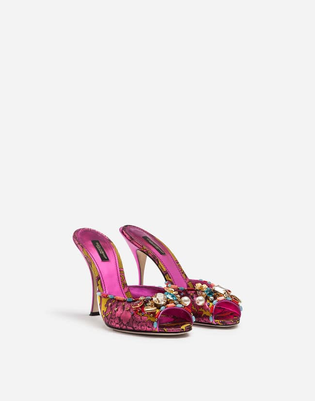 ORNAMENTAL FLORAL JACQUARD MULES WITH EMBROIDERY Dolce Gabbana