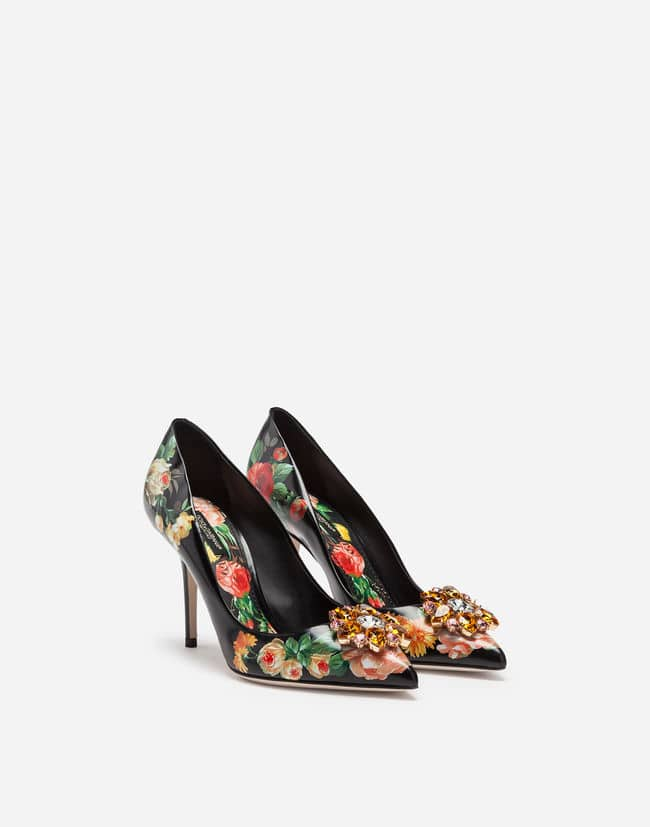 PATENT PRINTED PUMPS WITH STUDS Dolce Gabbana