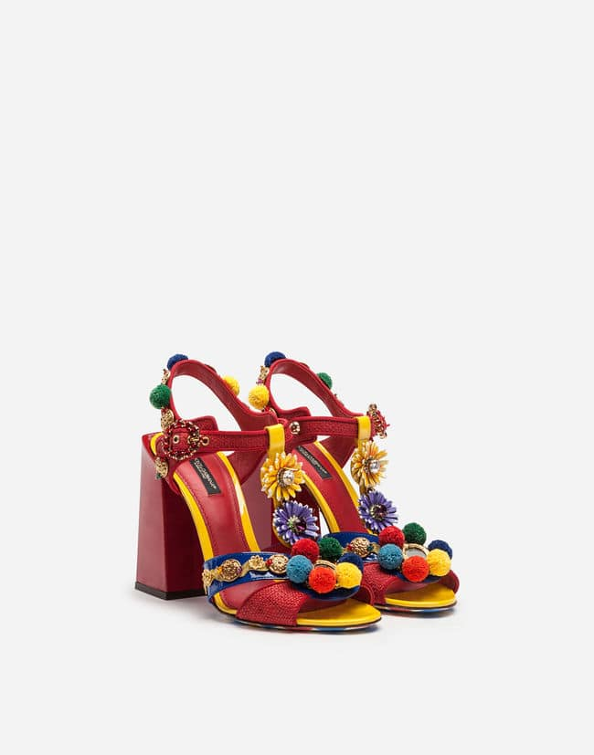 RAFFIA AND PATENT LEATHER SANDALS WITH APPLIQUÉS Dolce Gabbana