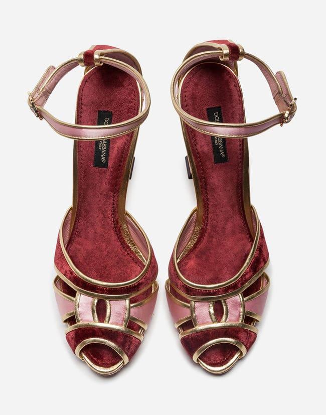 SANDAL IN SATIN AND VELVET WITH SCULPTED HEEL Dolce Gabbana