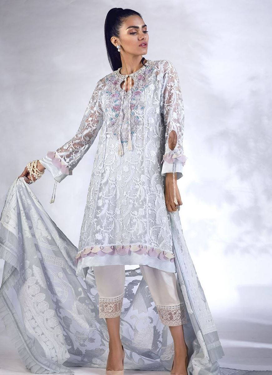 SILVER DOVE HIGH-LOW KURTA WITH DUPATTA