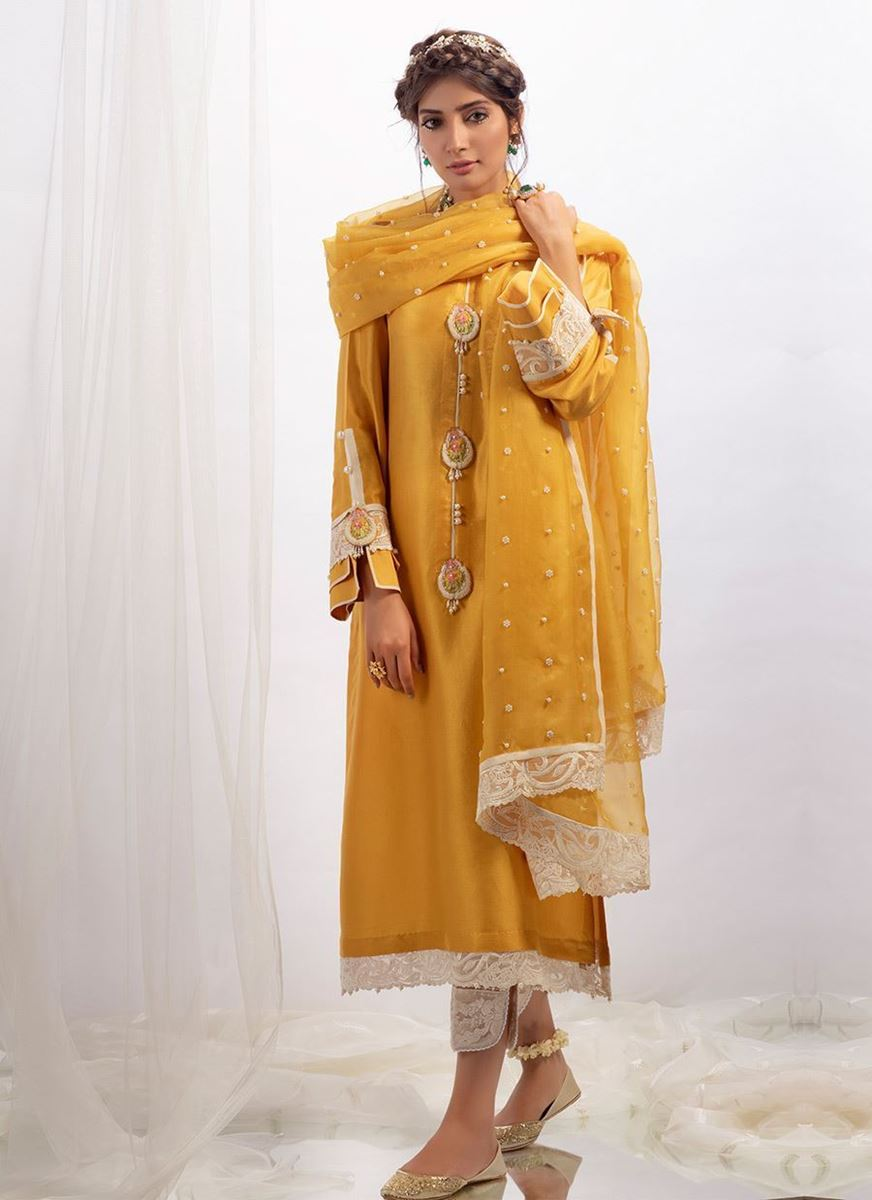 MUSTARD RAW SILK SHIRT WITH DUPATTA