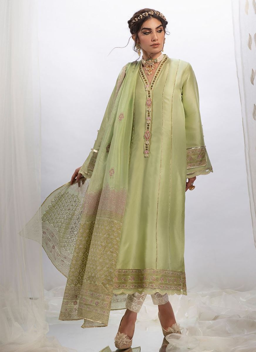 TRADITIONAL GREEN RAW SILK SHIRT WITH DUPATTA