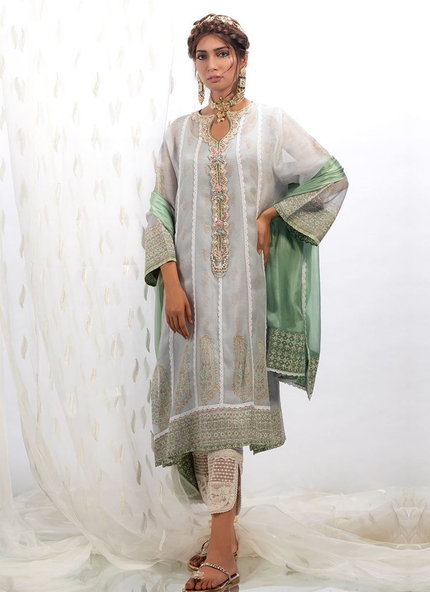 PERIWINKLE BLUE COTTON NET SHIRT WITH DUPATTA