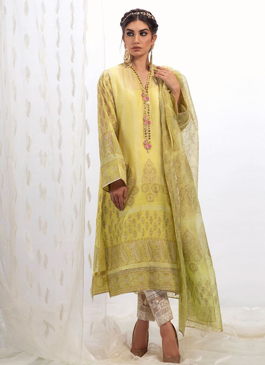 LEMON COTTON NET SHIRT WITH DUPATTA