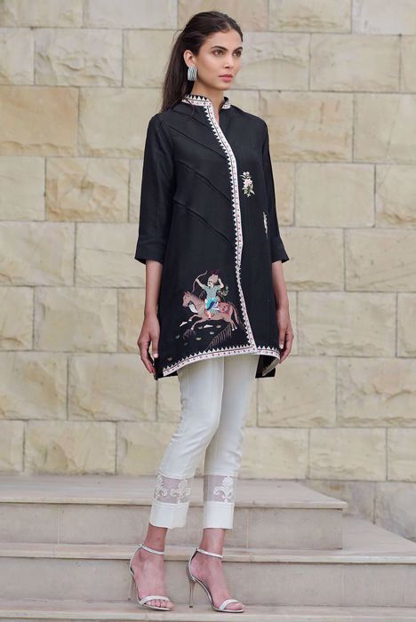 RAW SILK EMBROIDERED SHIRT