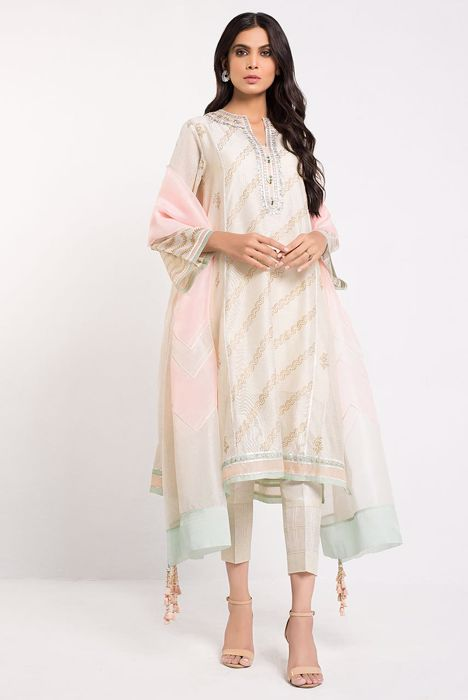 BLOCK PRINTED COTTON NET SHIRT WITH DUPATTA
