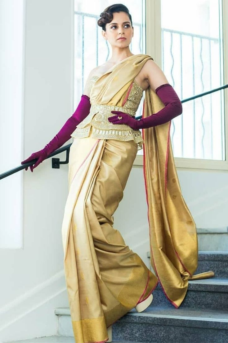 Kangna Ranaut in Kanjeevaram saree and corset