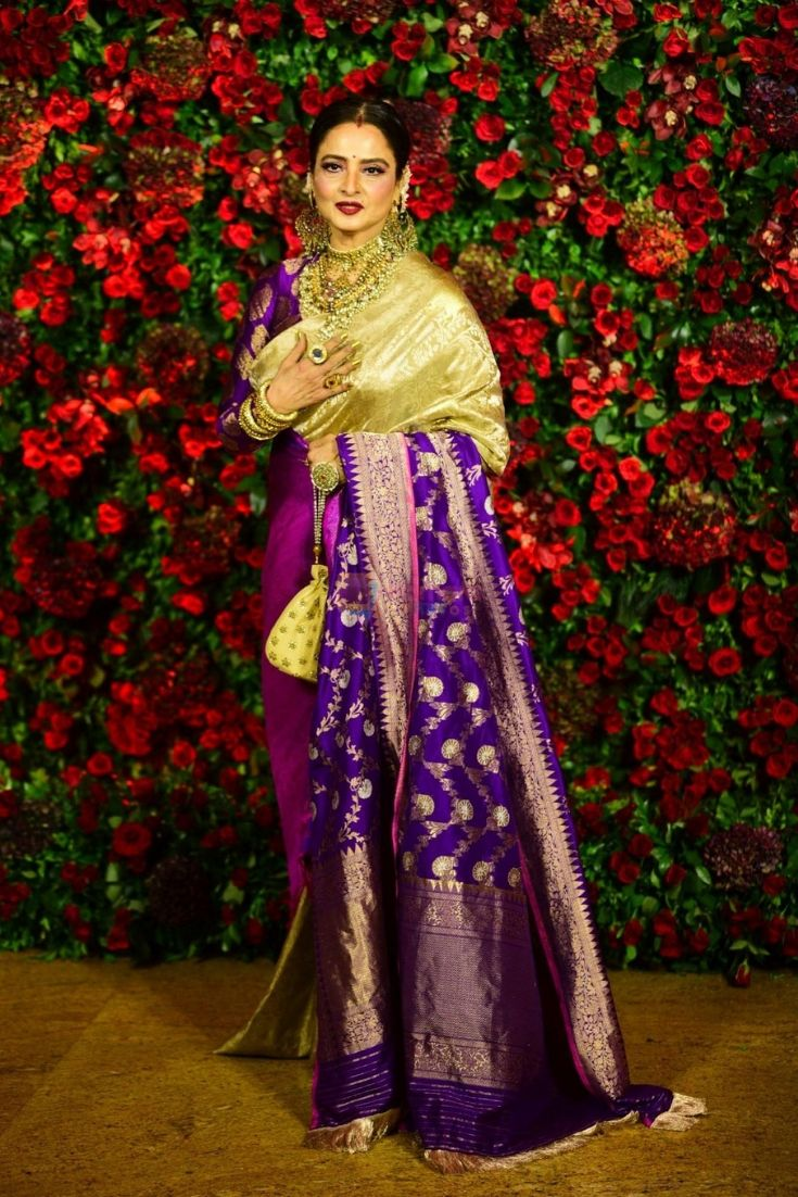 Rekha in a Gold & Purple Kanjeevaram Saree