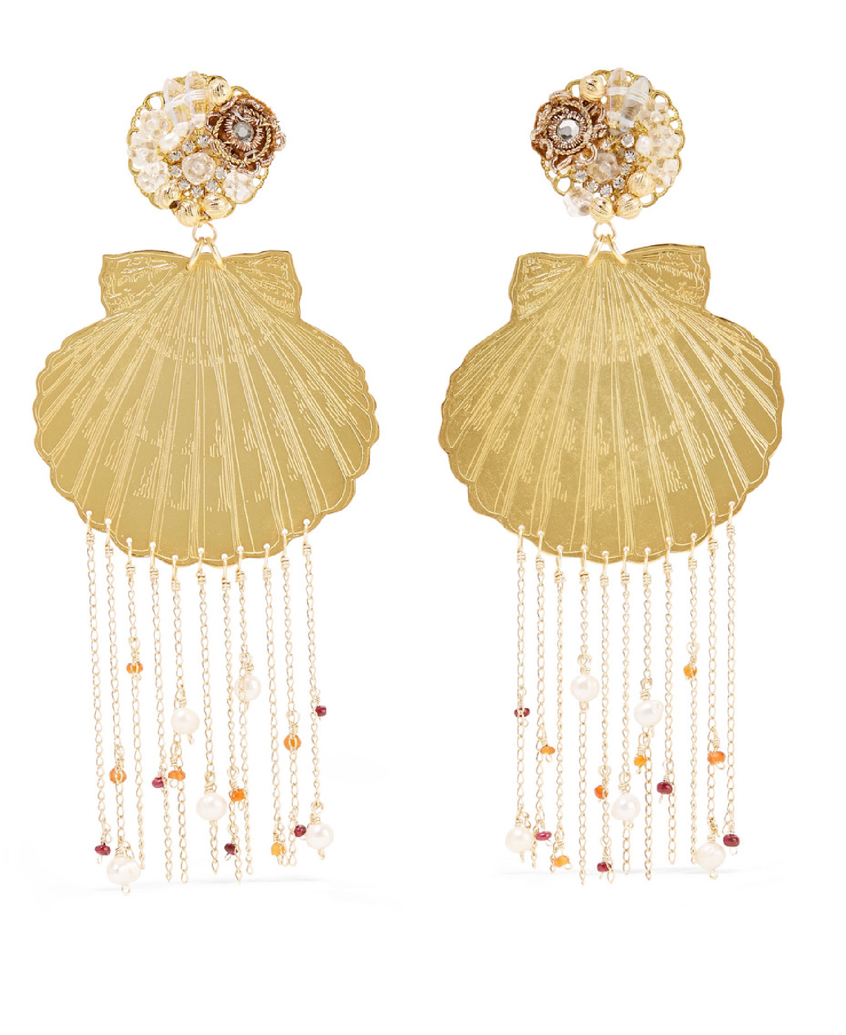 Mercedes Salazar - Tropics Gold-Tone, Resin, Crystal And Faux Pearl Clip Earrings