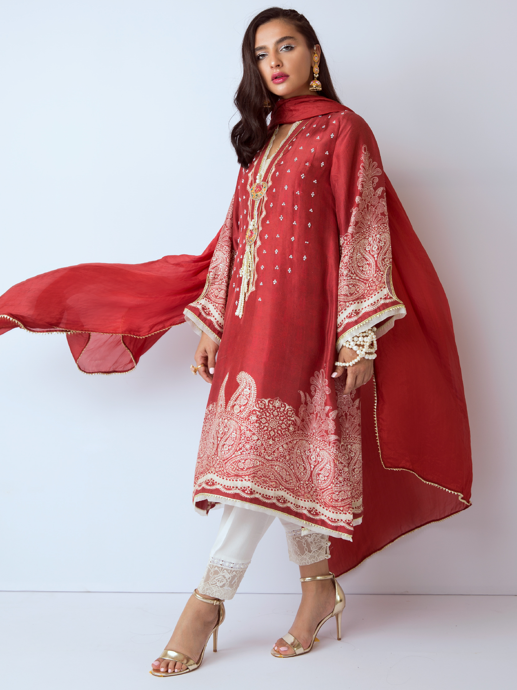 LAAL LUXE RAW SILK SHIRT AND DUPATTA