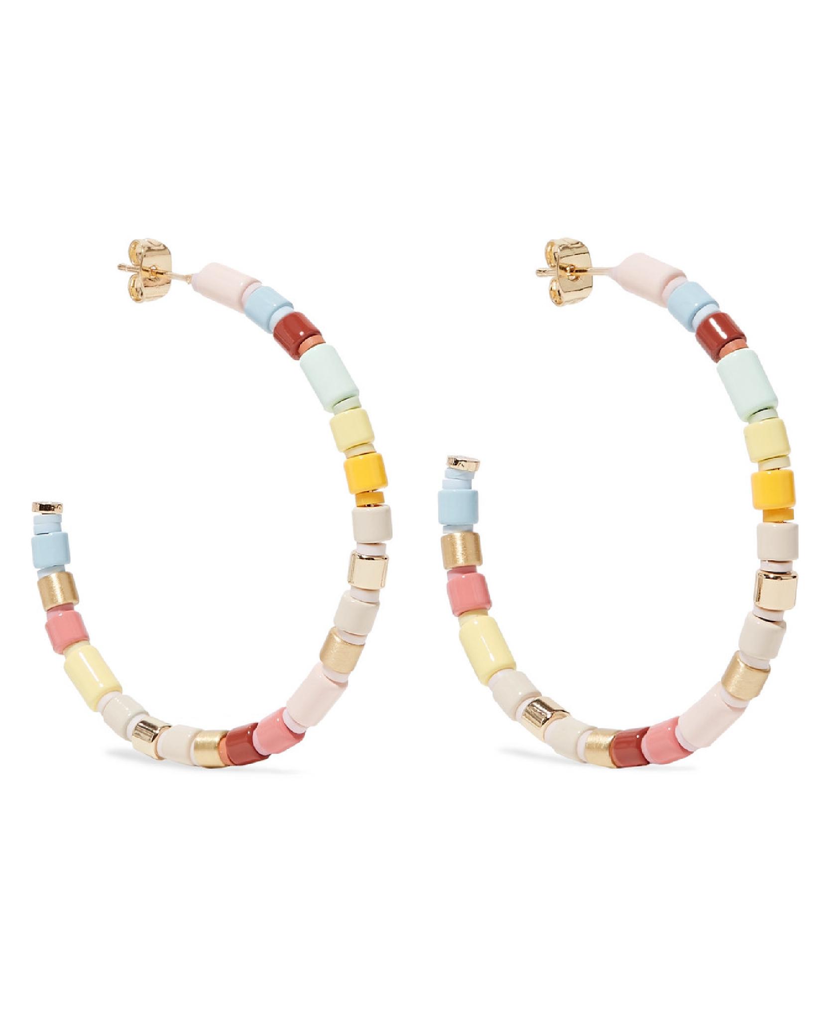 Roxanne Assoulin - Rainbow Lite Gold-Tone And Enamel Hoop Earrings