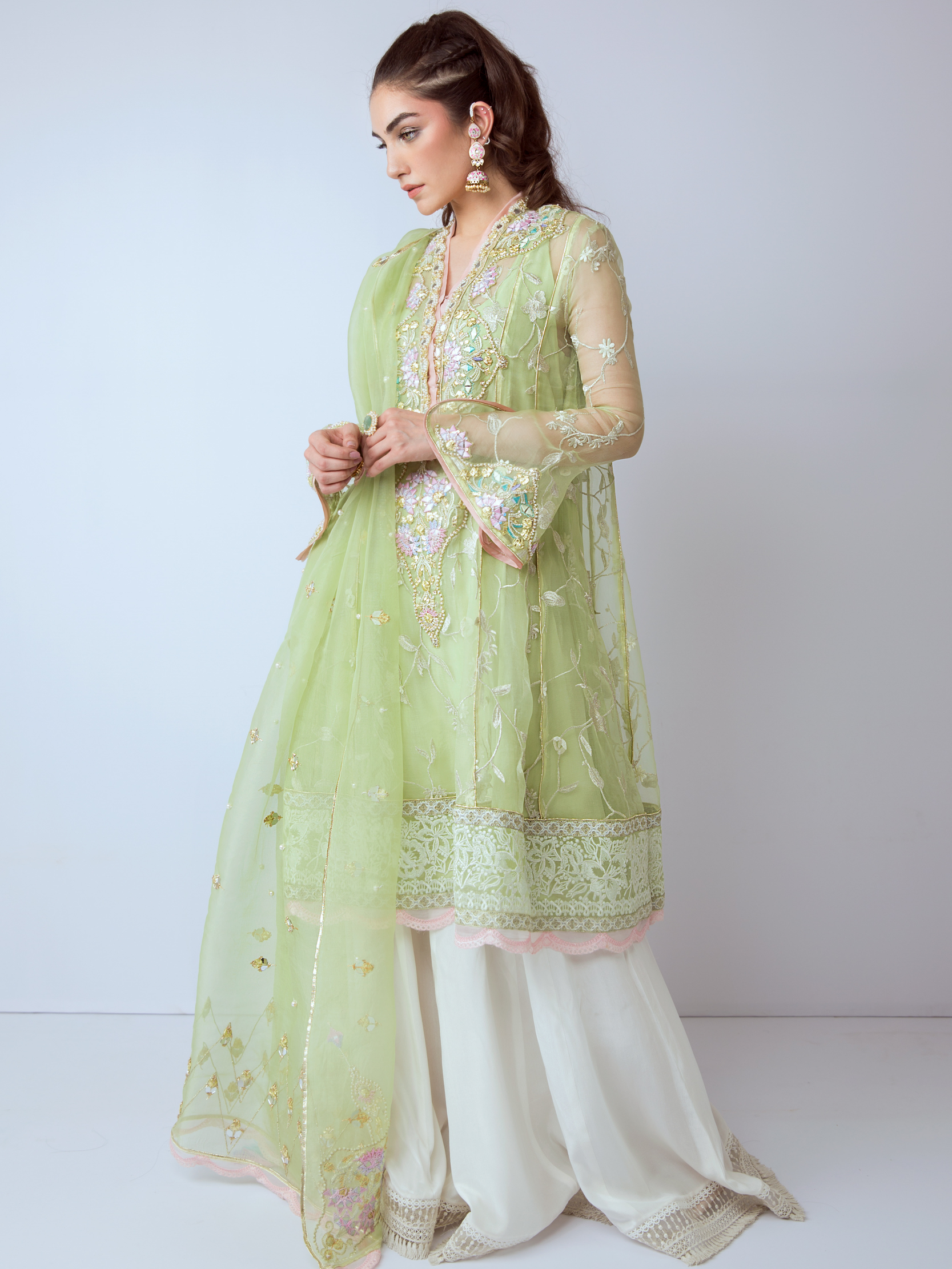 PERSIAN MIRROR- LUXE EMBROIDERED ORGANZA PANELLED FLARED SHIRT