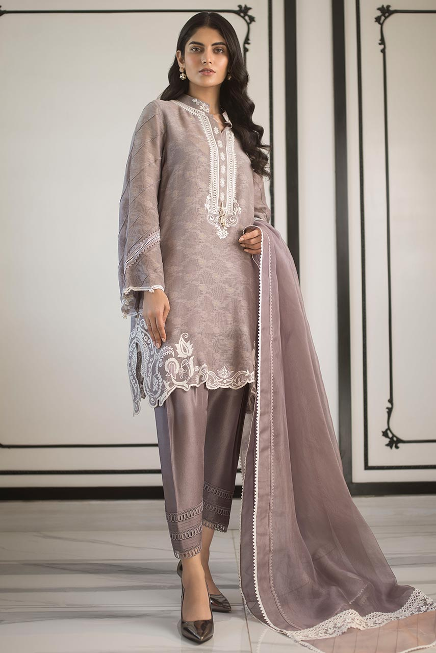 COTTON NET EMBROIDERED SHIRT AND DUPATTA