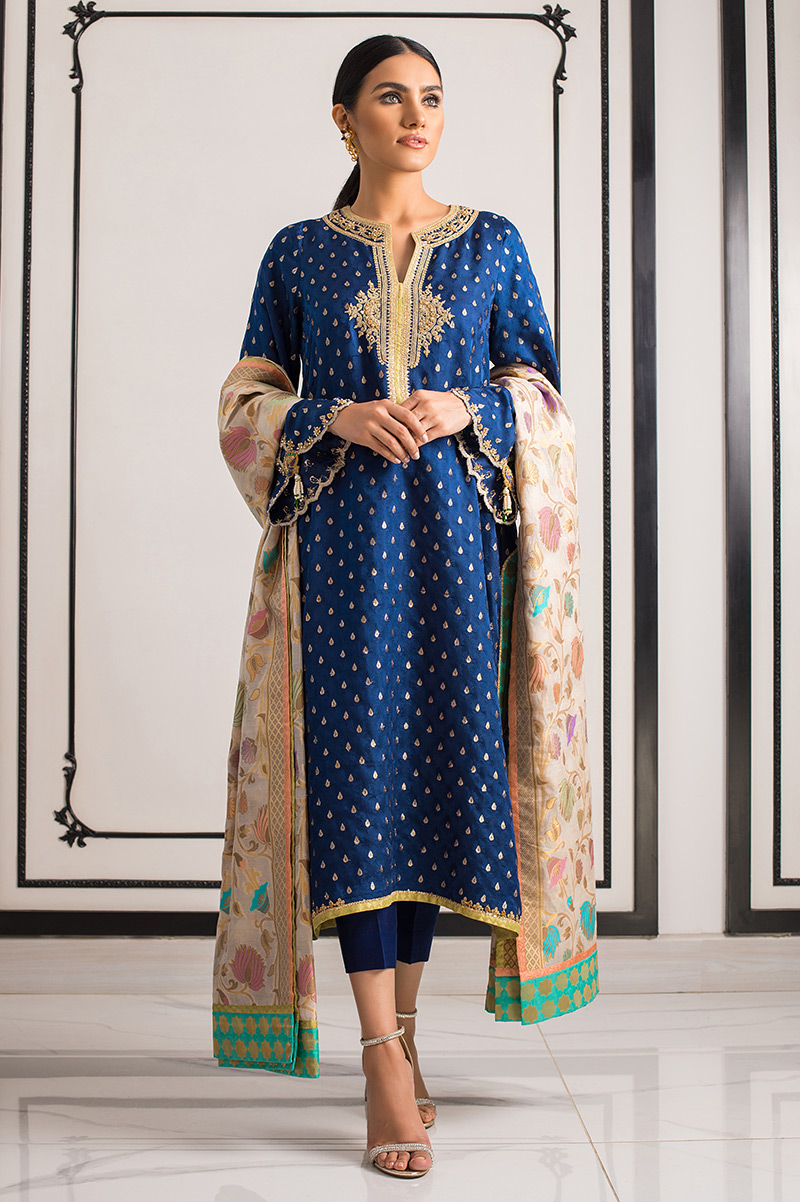 EMBROIDERED JAMAWAR KAMIZ WITH SHAWL